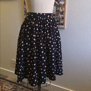 Polkadot gathered midi skirt elastic back navy